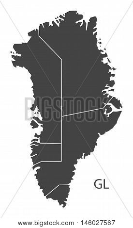 Greenland grey map with regions isolated vector high res