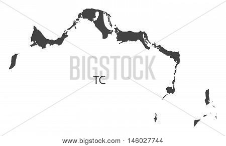 Turks and Caicos Islands grey map isolated vector high res