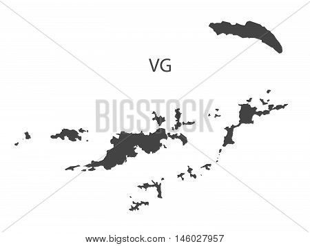 British Virgin Islands grey map isolated vector high res