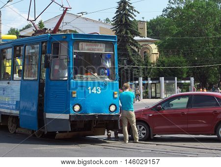 Smolensk, Russia - July 29, 2014: The collision with the tram car on the street Smirnov in Smolensk
