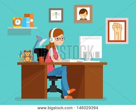 Freelance woman working at home with computer. Vector illustration in flat style. Freelance home, freelancer designer or programmer, workspace freelance