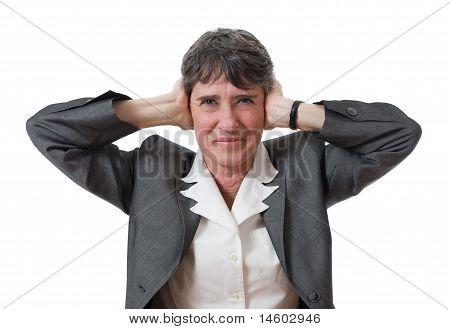 businesswoman closing ears