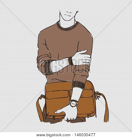 Attractive Young Man In Fashion Clothes With Bag And Watches. Vector Hand Draw Illustration. Isolate