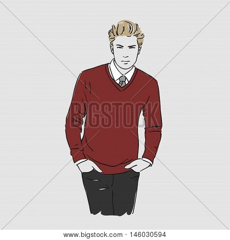 Attractive Young Man In Red Sweater. Vector Hand Draw Illustration. Isolated.