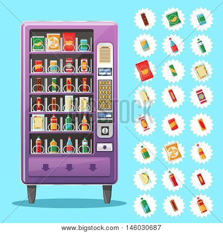 Vending machine with snacks and drinks. Machine automatic, public vending, snack drink, purchase food. Vector illustration