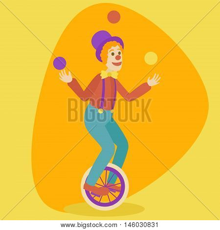 Juggler man on retro vintage old unicycle cartoon style vector illustration. Juggler circus on a unicycle
