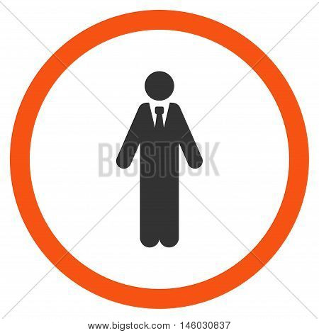 Clerk vector bicolor rounded icon. Image style is a flat icon symbol inside a circle, orange and gray colors, white background.