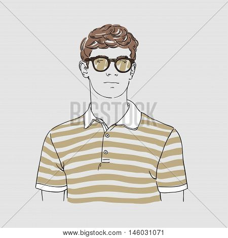 Attractive Young Man In Fashion Striped T-shirt And Glasses. Vector Hand Draw Illustration. Isolated