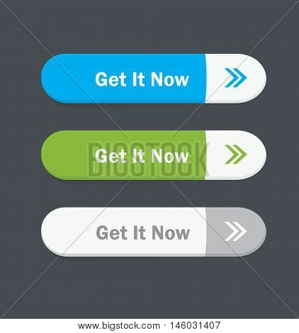 Set of vector web interface oval buttons. Get it now.