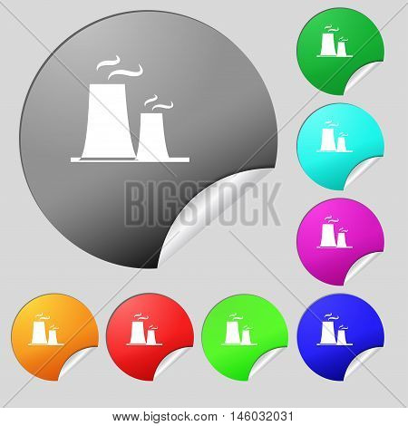 Atomic Power Station Icon Sign. Set Of Eight Multi Colored Round Buttons, Stickers. Vector