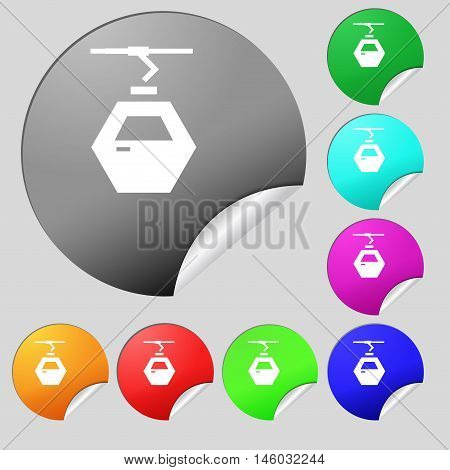 Cableway Cabin Icon Sign. Set Of Eight Multi Colored Round Buttons, Stickers. Vector