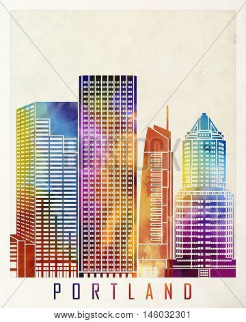 Portland landmarks skyline in artistic watercolor poster