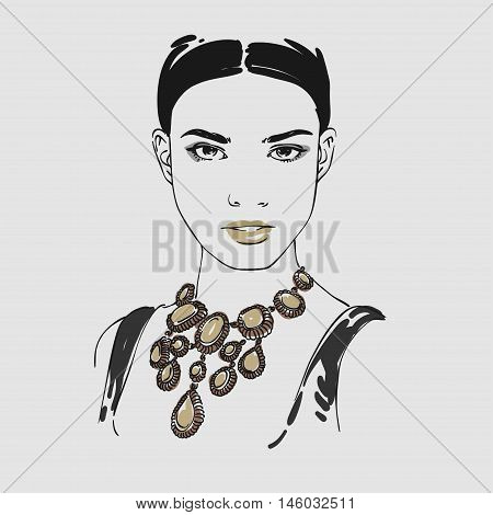 Beautiful Young Woman With Big Gold Massive Necklace. Vector Hand Drawn Illustration.