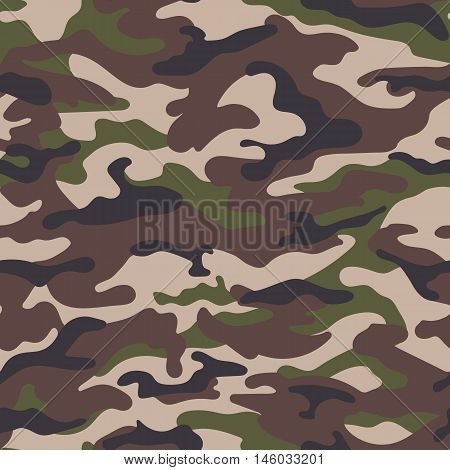 Army camouflage seamless pattern in green-brown colors. Vector illustration