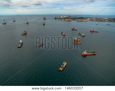 Labuan, Malaysia-Sept 7,2016: Aerial view of the supply vessels transporting cargo at Labuan, strategically located in the hub of Asia-Pacific & the ASEAN offshore oil exploration and production region.