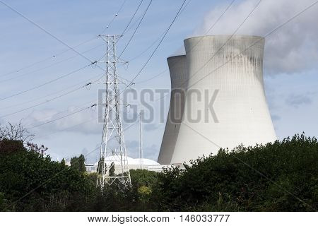 Nuclear power plant and pylon in Doel in Belgium