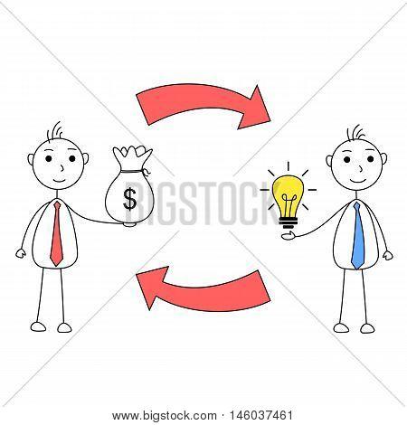 Illustration of cartoon men exchanging idea for money