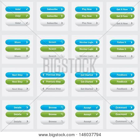 Set of vector web interface oval buttons.