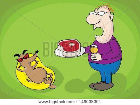 pet dog lover master owner relationship vector illustration
