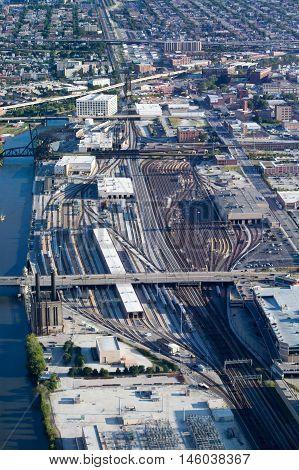 The BNSF Railroad yard in Chicago, USA