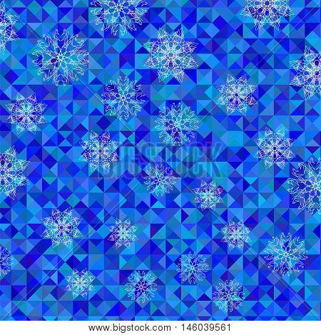 White Snowflake Pattern on Blue. Christmas Symmetric Triangle Background