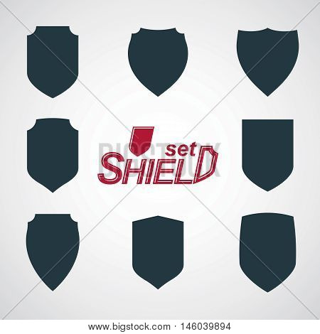 Collection of vector grayscale defense shields protection design graphic elements.