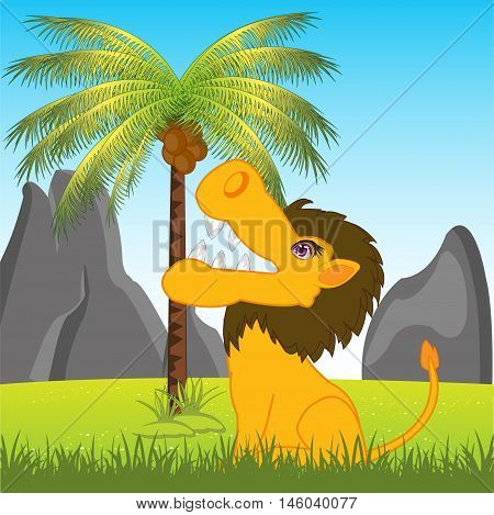 The Animal lion on glade under palm.Vector illustration