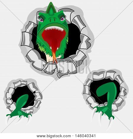 The Green dragon peers out torn hole in wall.Vector illustration