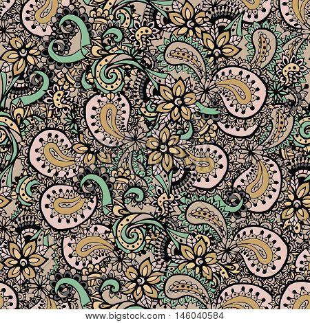 Paisley seamless pattern. Paisley flowers pattern. Hand drawn henna mehndi pattern.