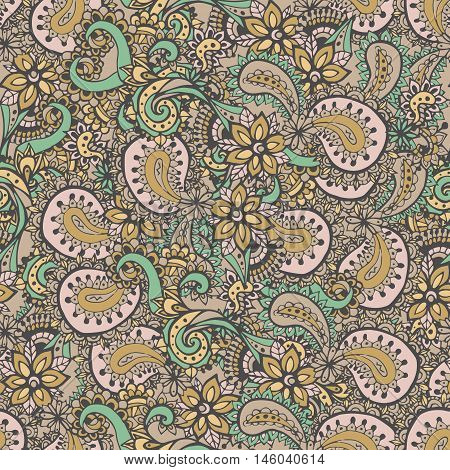 Paisley seamless pattern. Paisley flowers pattern. Hand drawn henna mehndi pattern.