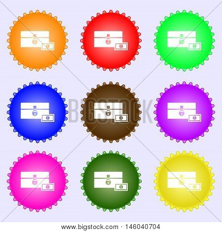 Chest Icon Sign. Big Set Of Colorful, Diverse, High-quality Buttons. Vector