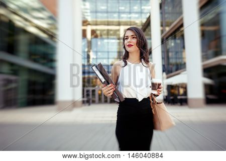 Businesswoman in a hurry outdoors in the city