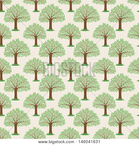 Pattern for seamless background beautiful trees with green leaves.