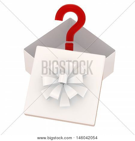 White gift box with yellow bow and surprise. Isolated on a white
