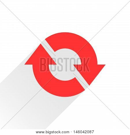 Red arrow icon reload refresh rotation reset repeat sign. Web pictogram with gray long shadow on white background. Simple solid plain flat style. Vector illustration graphic design 8 eps