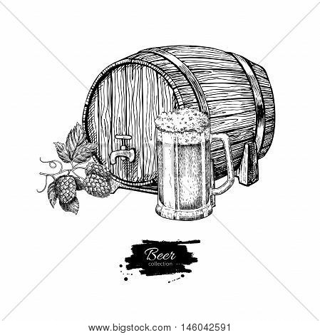 Beer barrel with hop and glass mug. Sketch style vector illustration. Hand drawn isolated beverage object on white background. Alcoholic drink drawing. Great for restaurant bar pub menu oktoberfest