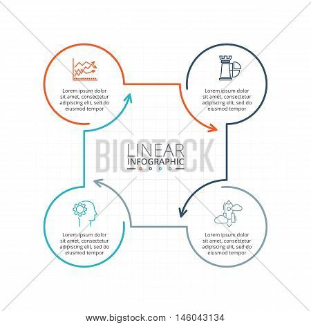 Thin line flat element for infographic. Template for diagram, graph, presentation and chart. Business concept with 4 options, parts, steps or processes. Data visualization.