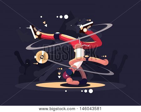 Breakdancer dancing on stage in night club. Vector flat illustration