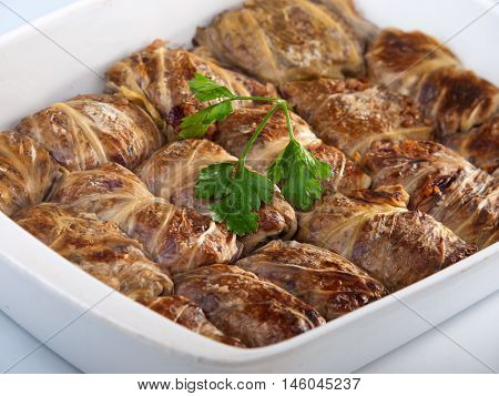 Stuffed cabbage rolls with meat and rice. Vertica shot