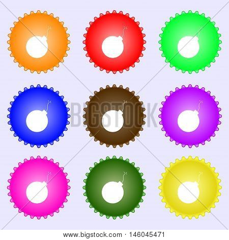 Bomb Icon Sign. Big Set Of Colorful, Diverse, High-quality Buttons. Vector