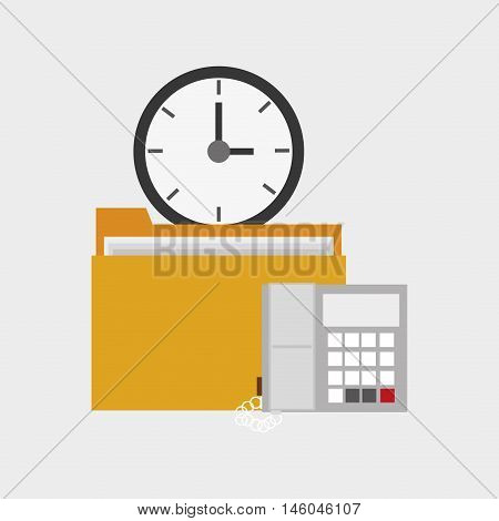 flat design file folder with clock and telephone office related items icon vector illustration
