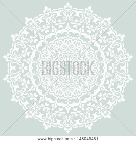 Oriental vector light blue and white pattern with arabesques and floral elements. Traditional classic ornament