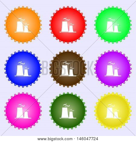 Atomic Power Station Icon Sign. Big Set Of Colorful, Diverse, High-quality Buttons. Vector