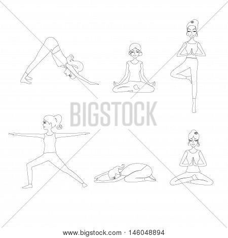 Outline yoga woman set. Set of Yoga poses line silhouette, Pilates poses silhouette woman. vector illustration.