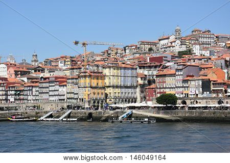 PORTO, PORTUGAL - AUG 22: Porto, on the river Douro, in Portugal, as seen on Aug 22, 2016. It is the second largest city in Portugal after Lisbon and a major urban area of the Iberian Peninsula.