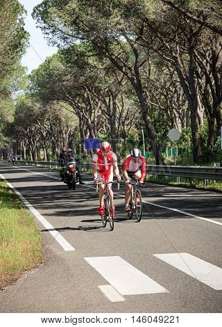 Grosseto, Italy - May 09, 2014: The disabled cyclist with the bike during the preparation to sporting event The 2014 IPC Athletics Grand Prix Italian Open Championships