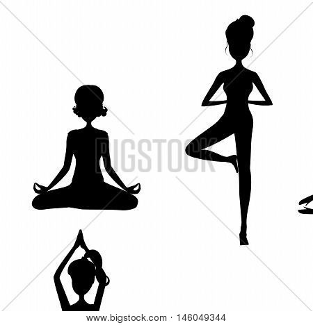 Black silhouette of yoga pose.Cartoon girl in Yoga postures black silhouette.