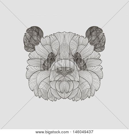 Detail Zentangle. Boho Hand Drawn Stile Panda Portrait. Vector Illustration.