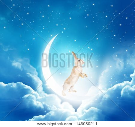 Chinese mid-autumn festival background with rabbit, moon and clouds.