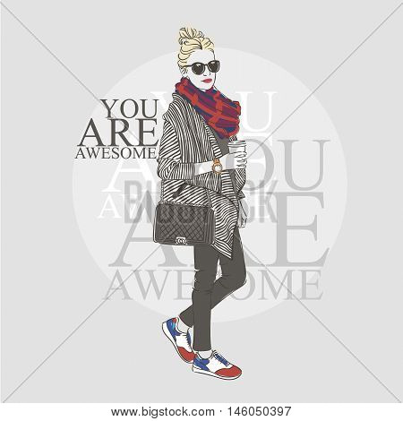 Beautiful Hipster Young Woman In A Fashion Striped Jacket And Glasses With Bag And Scaf. Hand Drawn